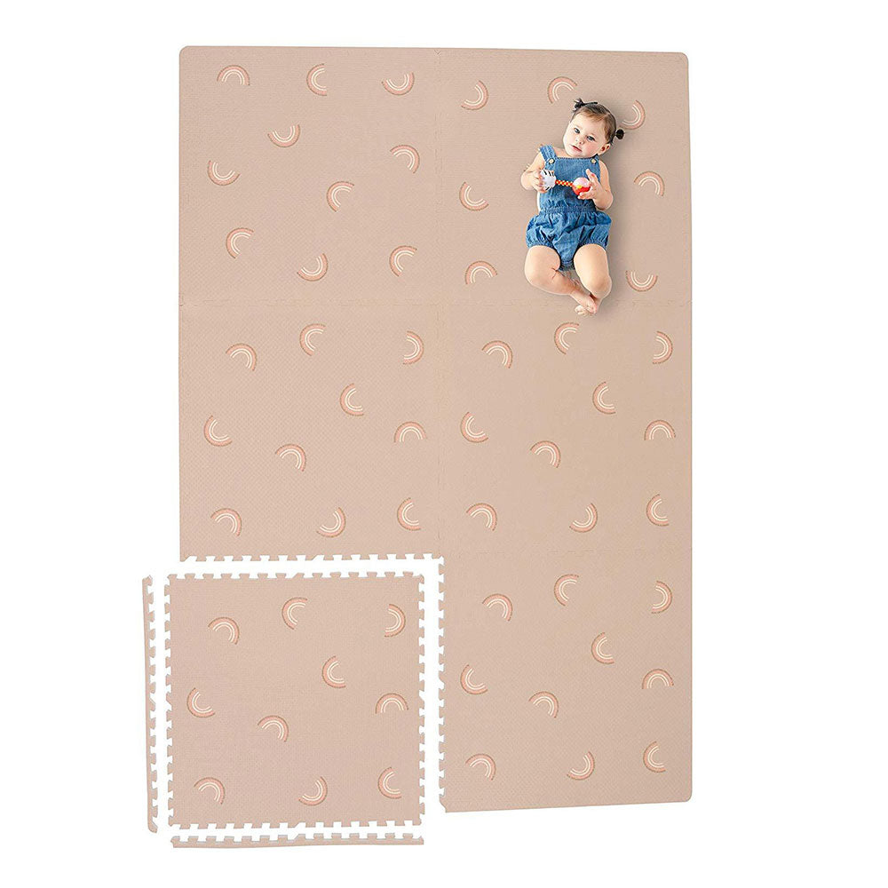 Baby Laying on Emery Rainbow Foam Playmat