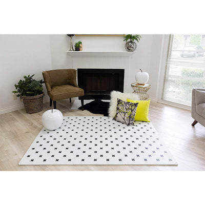 Brooklyn Cross Black and White Play Mat in Sitting Room