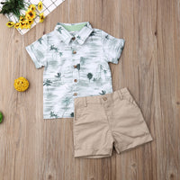 Short Sleeve Print Shirt & Shorts Pant Bottom