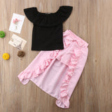 Off Shoulder Ruffle Asymmetrical Stylish Dress T-shirt Top+Shorts Pants Clothes Sets