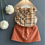 Spring Summer Floral Children Sleeveless T-shirt+Solid Shorts 2PCS Kids Suit