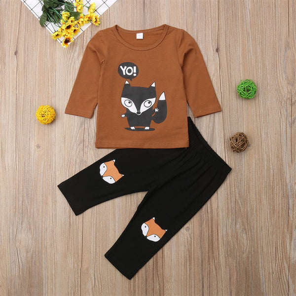 Toddler Kids Baby Boy Tops T-shirt Long Pants 2Pcs Outfit