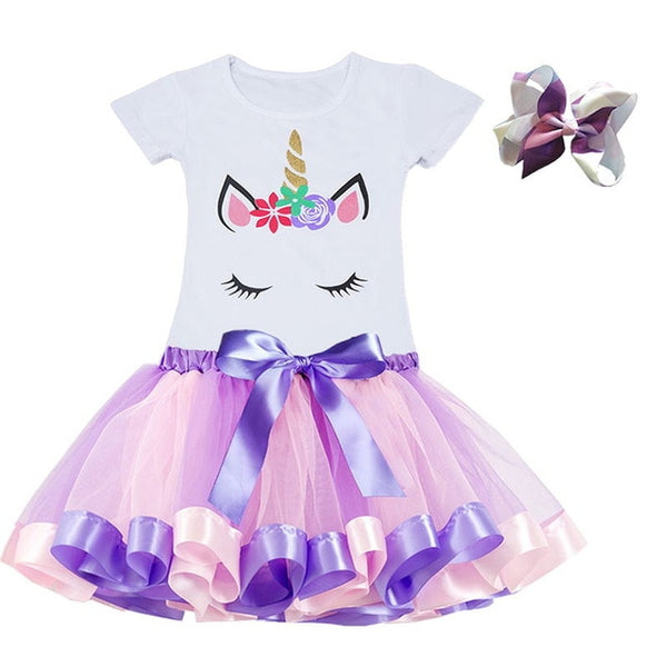 Princess Party Tutu Unicorn Costume Dress Kids Birthday Outfits Suits