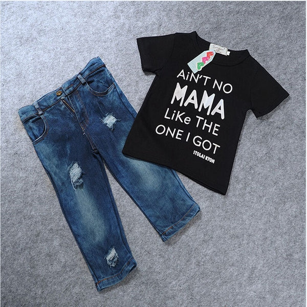T-shirt Top Tee +Ripped Jeans Denim Pants Outfits Set