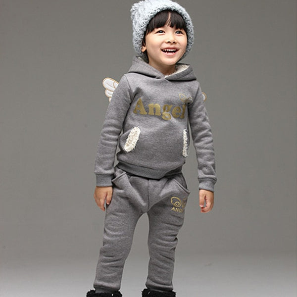 Fleece Sports Suit For Girls with Wings