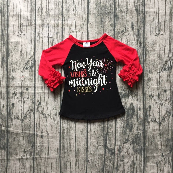 New year wishes midnight kisses top t-shirts red black t-shirt