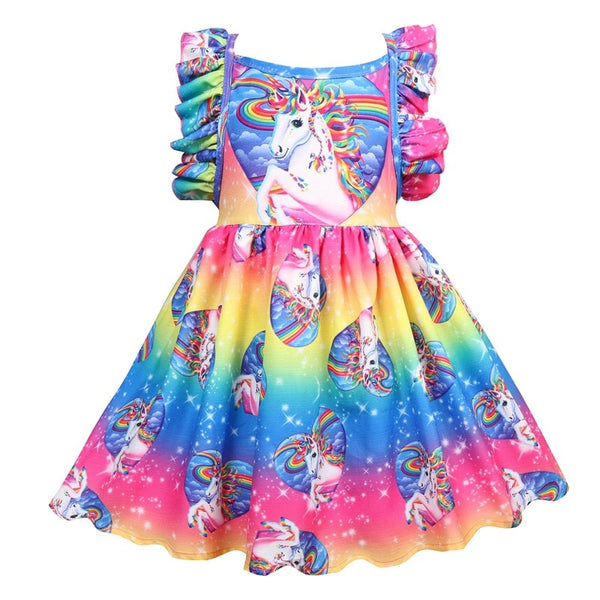 Unicorn Costume Party Dresses Girls Clothes Princess Short Sleeve
