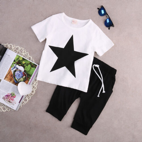 Star Print Tops T-shirt Harem Pants Outfits