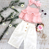 Ruffle Pink Bow Solid Sling Tops Pants Leggings Outfit