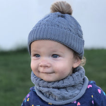 Load image into Gallery viewer, Toddler hat and infinity scarf set. Blue/grey
