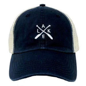 Blue lake trucker hat