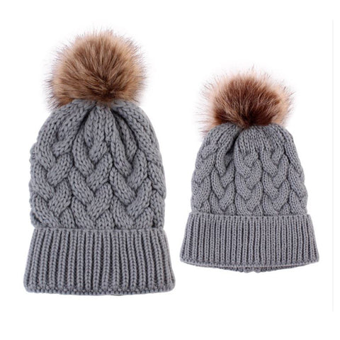 Matching Mom/Daughter knit hats Grey