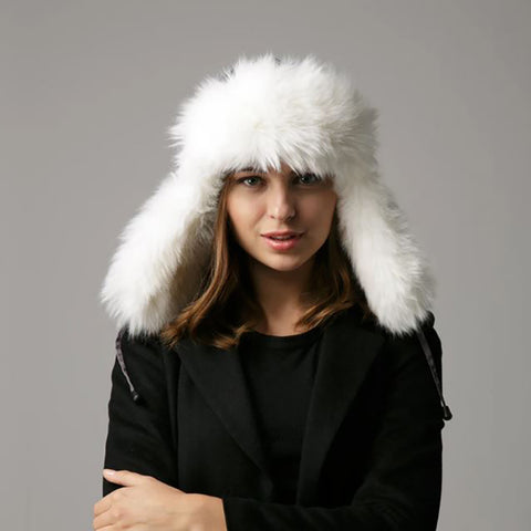 Cozy and adjustable faux fur trapper hat