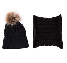 Load image into Gallery viewer, Toddler hat and infinity scarf set. Black