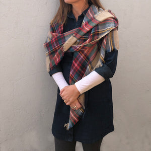 Brown and red multicolor pashmina scarf