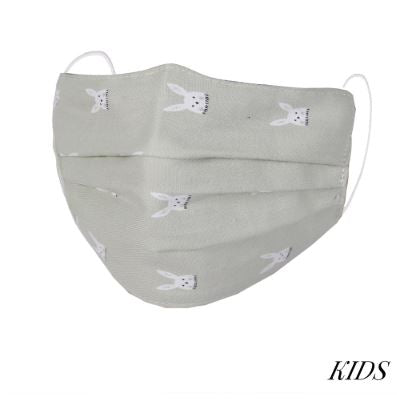 Grey fashionable face mask with white bunny print