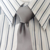 grey slim tie on striped shirt