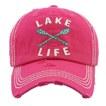 Load image into Gallery viewer, Pink hat with Lake Life on the front, Turquoise Oars and Rhinestones