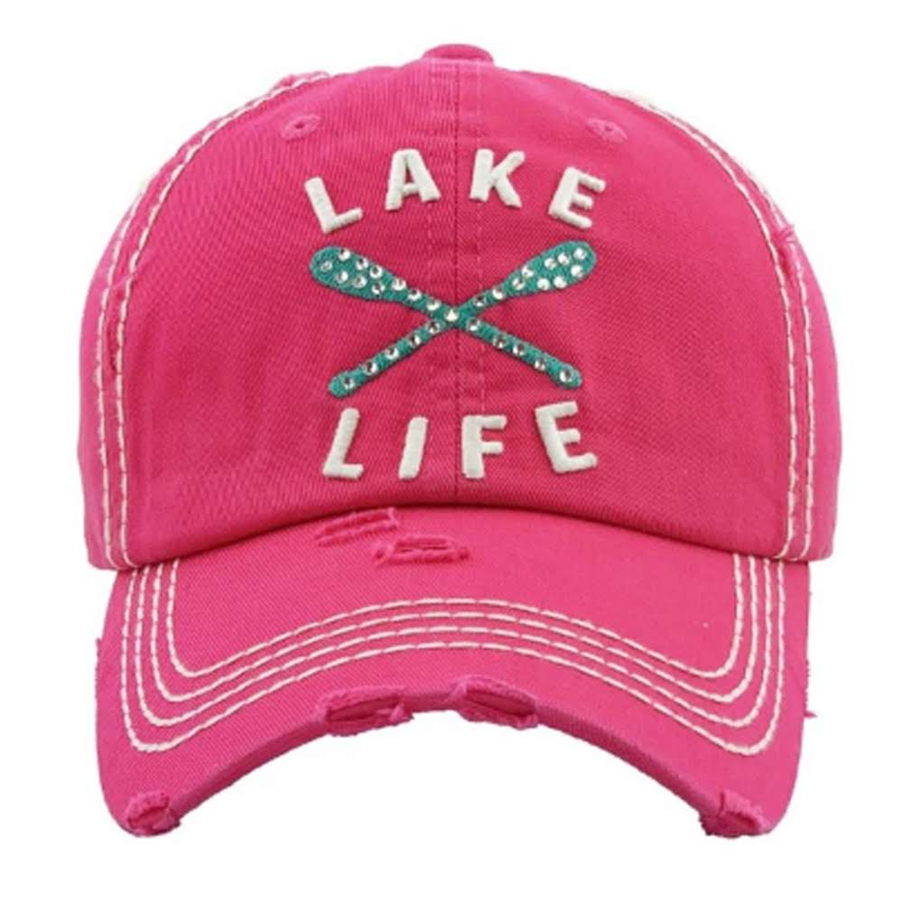 Pink hat with Lake Life on the front, Turquoise Oars and Rhinestones