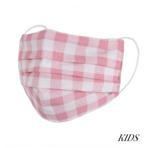 Pink and white gingham style fashion face mask for kids