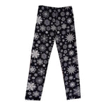 Black with white snowflake super soft leggings