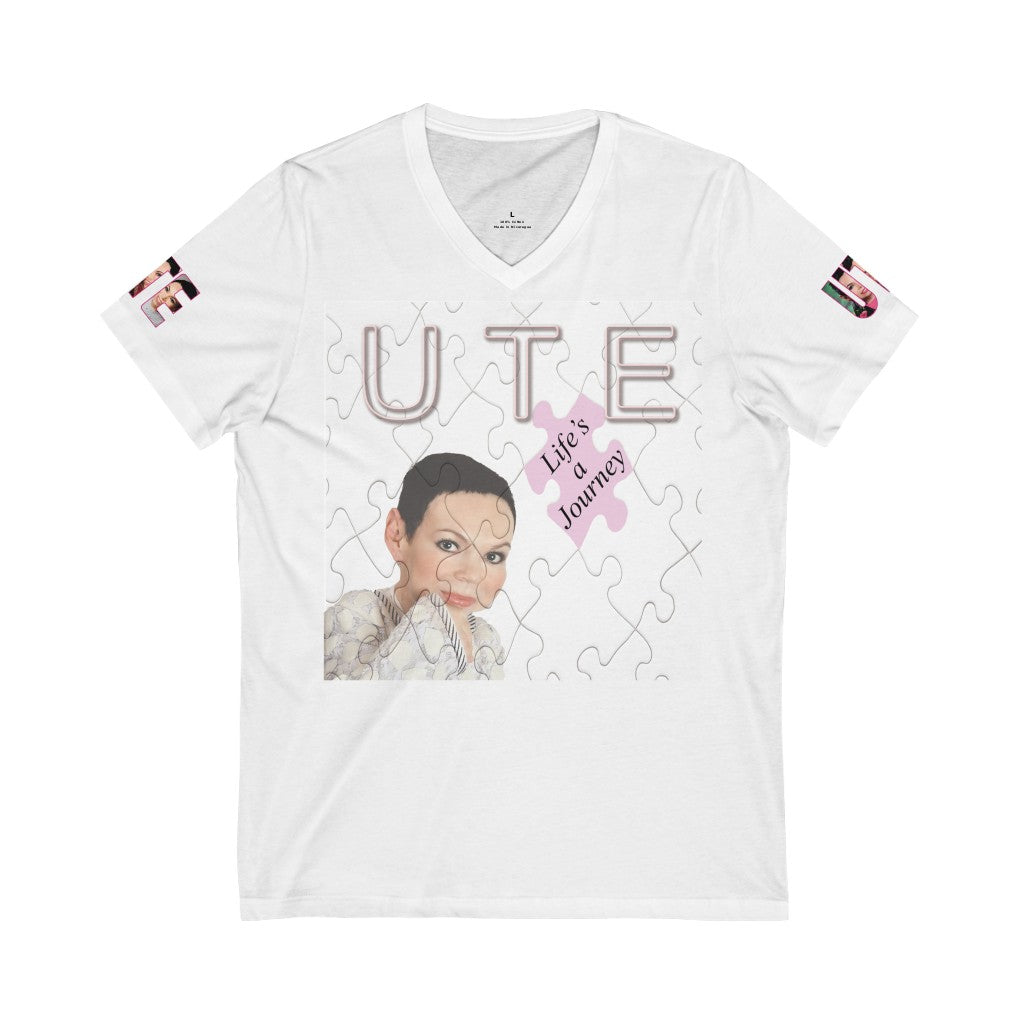 UTE - Life's A Journey Album Cover Art and Print on Sleeves - Unisex Jersey Short Sleeve V-Neck Tee