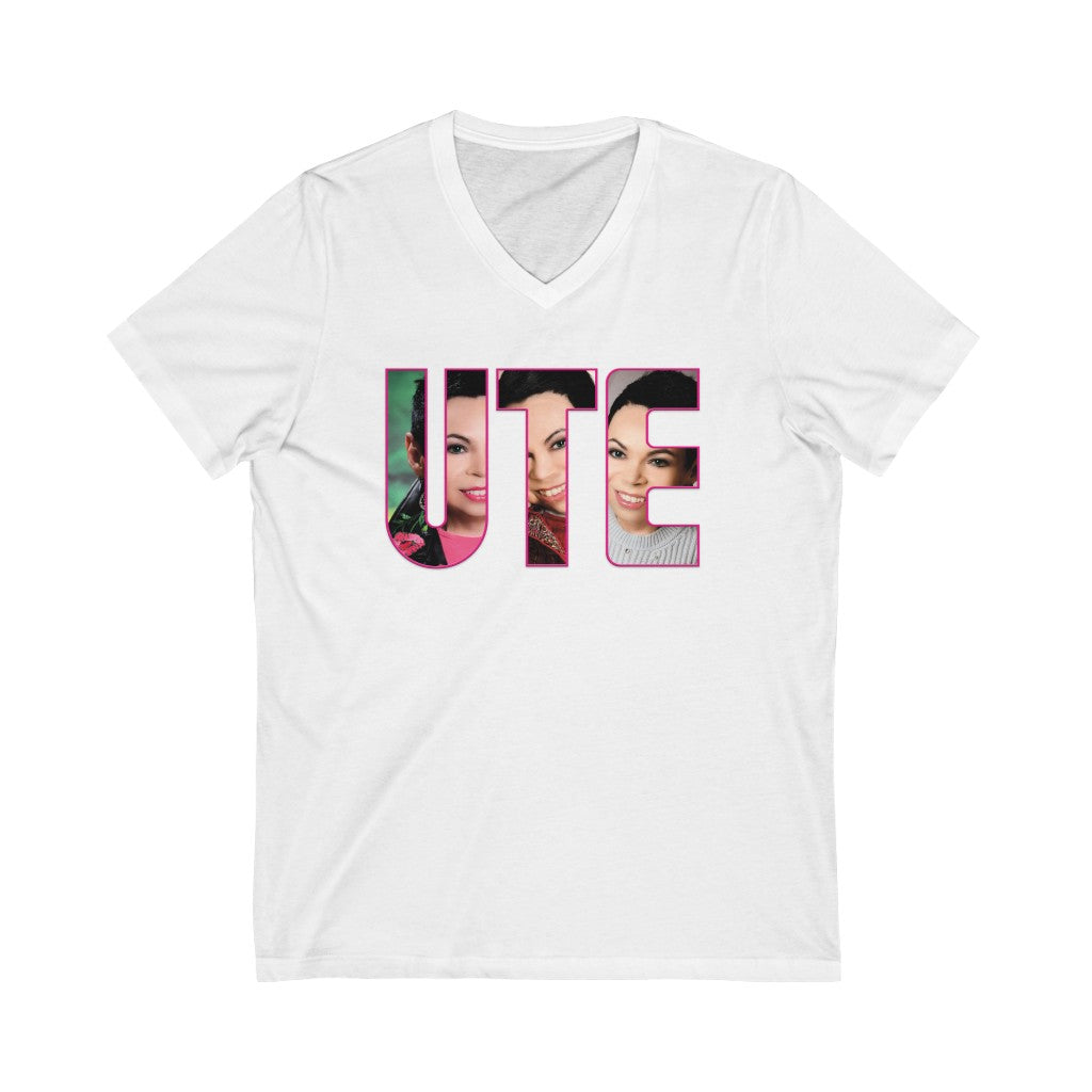 UTE - Picture Font - Jersey Short Sleeve V-Neck Tee