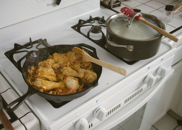 chicken and rice on stovetop