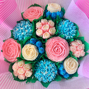 Baby Pink, Baby Blue, and White Flower Bouquet