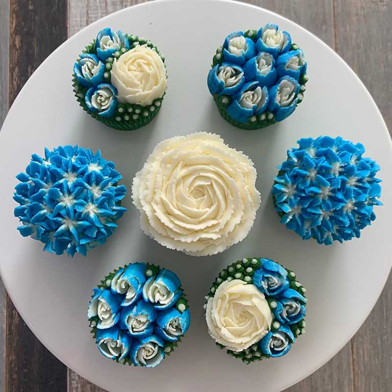 Blue and White Flower Cupcakes