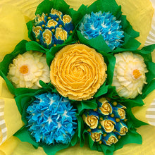 Load image into Gallery viewer, Golden Yellow and Blue Flower Bouquet