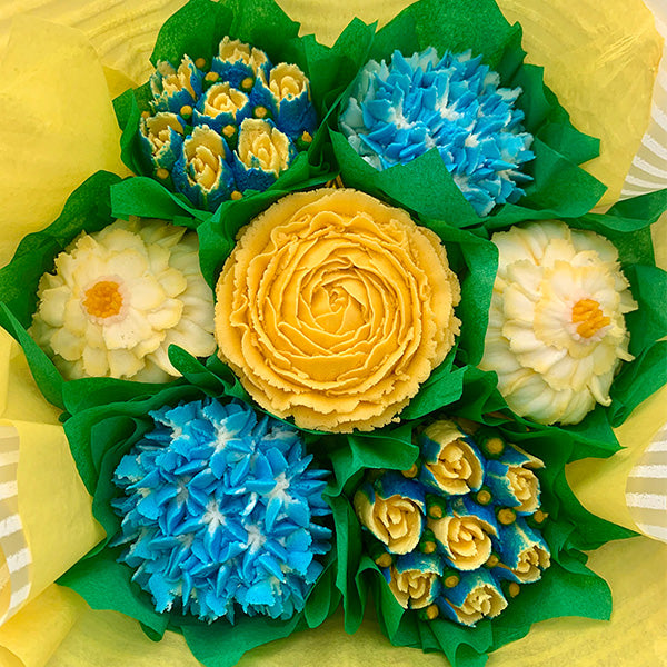 Golden Yellow and Blue Flower Bouquet