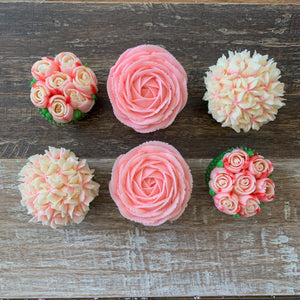Pink and White Flower Cupcakes