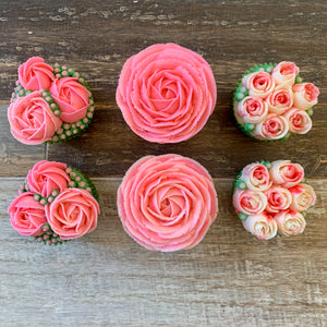 Rose Pink and White Flower Cupcakes (6)