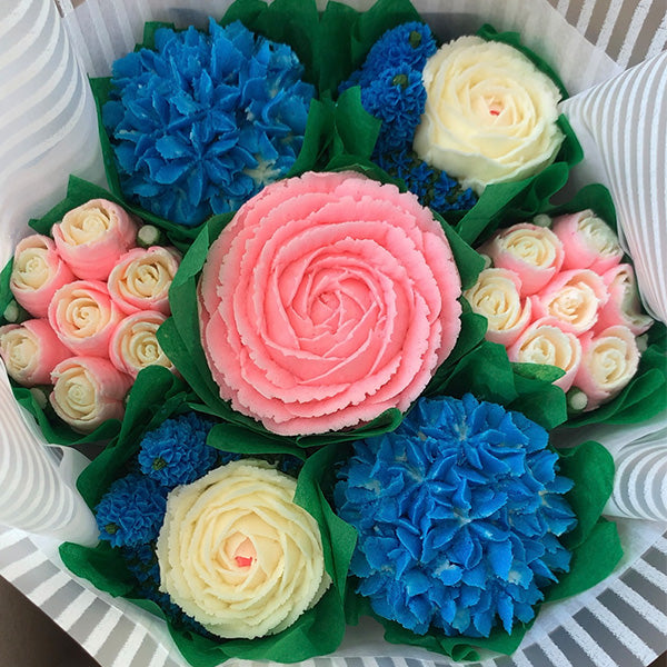 Pink, Blue, and White Flower Bouquet