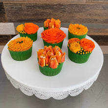 Load image into Gallery viewer, Golden Yellow, Orange, White Flower Cupcakes