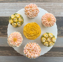 Load image into Gallery viewer, Peach, Golden Yellow, and White Flower Cupcakes