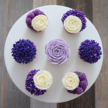 Load image into Gallery viewer, Lilac, Purple, and White Flower Cupcakes