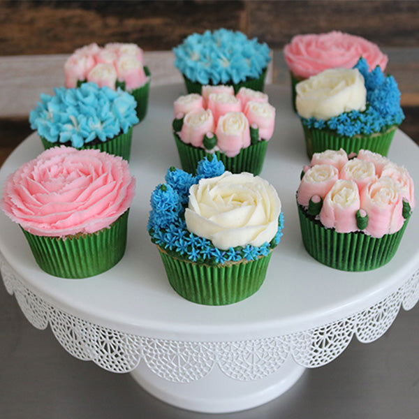 Pink, Blue, and White Flower Cupcakes