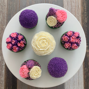 Bright Purple, Pink, and White Flower Cupcakes