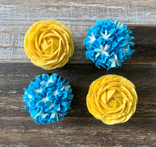 Load image into Gallery viewer, Blue And Yellow Flower Cupcakes (4)