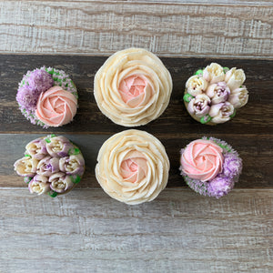 Lilac, Pink, and White Flower Cupcakes (6)