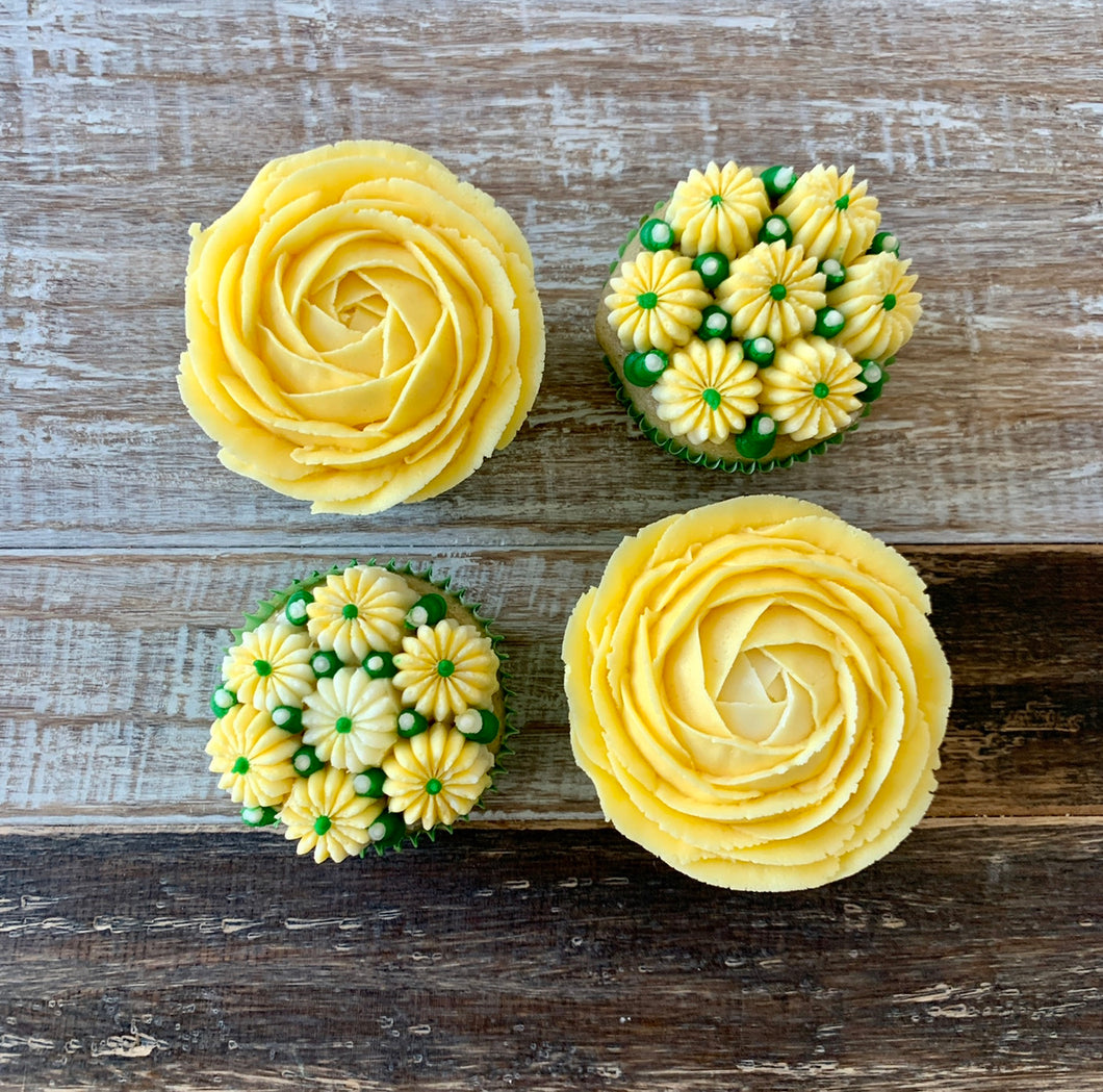 Yellow and White Flower Cupcakes (4)