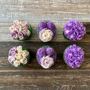 Purple and White Flower Cupcakes