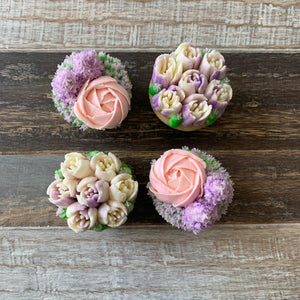 Lilac, Pink and White Flower Rose Cupcakes (4)