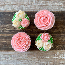 Load image into Gallery viewer, Baby Pink and White Rose Cupcakes (4)