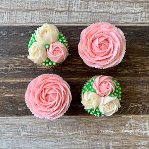 Baby Pink and White Rose Cupcakes (4)