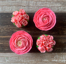 Load image into Gallery viewer, Bright Pink and White Flower Cupcakes (4)