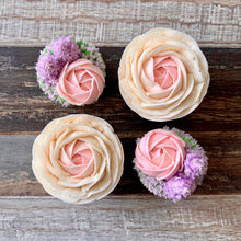 Load image into Gallery viewer, Lilac, Pink & White Rose Cupcakes Intricate (4)