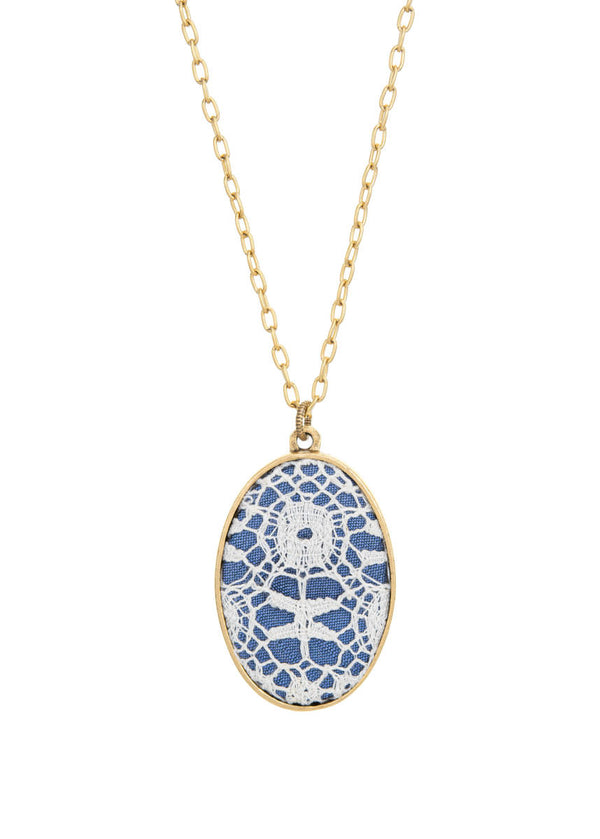 Antique Lace Oval Necklace - Blue